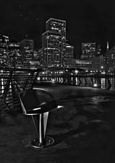 Best Seat in San Francisco (j-dub1980(THANK YOU FOR 100k+ Views)) Tags: sanfrancisco california longexposure nightphotography urban tourism water monochrome northerncalifornia night stars lights bay raw cityscape dof skyscrapers pacific wideangle pacificocean embarcadero bayarea iphoto astronomy sanfranciscobay newmoon picnik transamericapyramid startrails cityskyline urbanlandscape justinhermanplaza lightstreams nightlandscape blackwhitephotography jasonjenkins sanfranciscobaybridge historicland