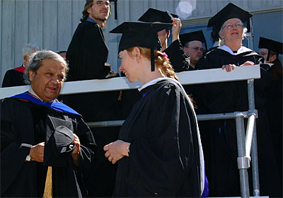 Professor Jaysin Birjepatil, Literature, Speaks to Sara Coffey, Trustee, Prior to Commencement.