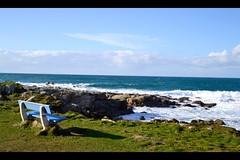 Bretagne   Pors Carn - Bretagne (Zoo*) Tags: blue sea mer white green wave bretagne vert berge bleu ciel nuage nuages vague blanc banc rochers finistre latorche finistresud porscarn d3100