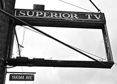 Superior TV () Tags: old city blue summer sky building history up look television shop corner grit photography photo washington store tv cross angle state pacific northwest image empty great picture superior gritty retro nostalgia photograph repair electronics processing nostalgic americana times avenue economy yakima recession