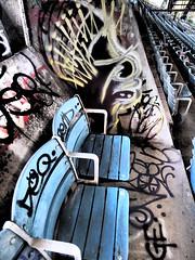 """Stadium FROM HELL!!!"" or ""Graffiti  gogo"" (sjnavarro) Tags: abandoned marina graffiti ruins florida miami stadium dramatic highcontrast disturbing hdr keybiscayne dramatictone olympuspenep3"
