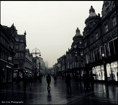 Foggy Leeds city center. (Ben Cox Photography) Tags: city people bw mist misty fog buildings leeds foggy citycenter