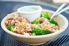 rice bowl (aubreyrose) Tags: food beans broccoli bloomington sweetpotato brownrice laughingplanet nakedburrito