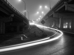 Fog TO (Neil Ta | I am Bidong) Tags: longexposure bridge blackandwhite bw toronto cars fog foggy gardiner spadina canon50mm canon5dmkii fogto