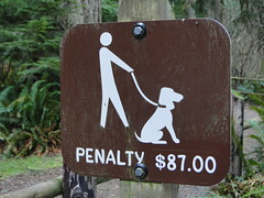 I guess walking your dog on a leash is an $87 fine so this must be an off leash area.