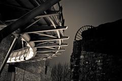 Corkscrew (subterraneancarsickblues) Tags: bridge blackandwhite bw wall night canon nocturnal efs1855mm millenniumbridge cumbria carlisle afterdark eos550d rebelt2i kissx4digital