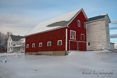 Red Barn~White House (Vicki Lund Photography) Tags: winter red sky white snow architecture barn landscapes photographer seascapes