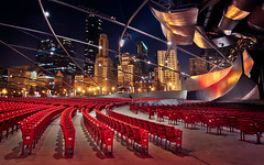 Pritzker Pavilion Millennium Park (Out Of Chicago) Tags: chicago cityscape stadium searstower seats millenniumpark michiganavenue cloudgate thebean 1740mm hdr pritzkerpavilion chrissmith 5dmarkii willistower