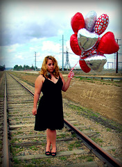 Day 136 (sammy078) Tags: love beauty sparkles train balloons hearts dress nowhere feathers tracks vday 365 middle valentinesday feild wideopenspaces