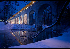 Moscow. Rostokinskiy aqueduct. (Yuri Degtyarev) Tags: city winter light snow night river moscow sony tripod aqueduct yuri alpha sel slik  cokin nex 1628  yauza pseries degtyarev 121s gnd8 p121s   psystem sel16f28 nexc3 rostokinskiy