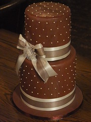 Chocolate Cake (AndyK959) Tags: birthday brown cake chocolate spots bow ribbon tall dots triple extra