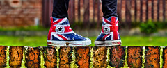 Converse All Star. The Who, Union Jack. (CWhatPhotos) Tags: pictures camera blue red white feet field wall digital canon pose that stars jack boot eos star photo all foto dof legs image boots photos who flag union picture images 100mm canvas have fotos converse 7d chuck colourful dslr which depth allstar chucks f28 allstars contain canvasshoes cwhatphotos