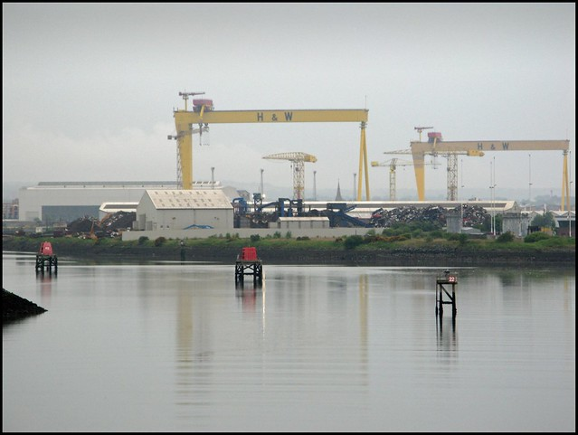 Sailing out of Belfast past Harland and Wolff
