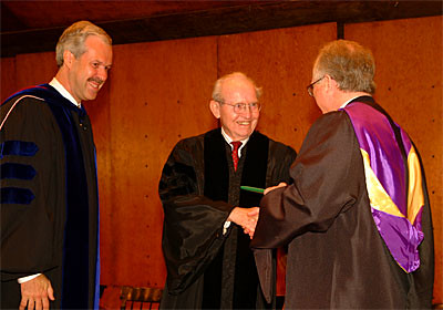 Richard Taylor, Longtime Trustee and Supporter of Marlboro College, Ran Honorary Degree From President Paul LeBlanc and Chairman of the Board of Trustees Ted Wendell