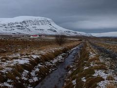 Febrar  Kjs (h) Tags: winter mountain snow rural landscape iceland ditch farm farmland february 2012 kjs eyrarfjall