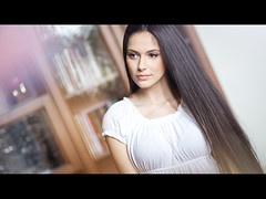 Sabina ([]NEEL[]) Tags: portrait white girl hair long dress indoor brunette