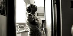 Try a little tenderness.... (monyart) Tags: light shadow portrait blackandwhite woman sun white selfportrait cute me girl beautiful amsterdam contrast dark hair myself hand io girlpower lovely biancoenero monyart