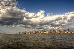 New York City skyline from Hoboken HDR (Dave DiCello) Tags: newyorkcity newyork photoshop nikon day cloudy manhattan tripod newyorkskyline empirestatebuilding nikkor hdr highdynamicrange hoboken nycskyline cs4 hobokennj 7worldtradecenter photomatix tonemapped colorefex cs5 d700 davedicello hdrexposed