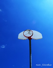 HOOP DREAMS (marc falardeau) Tags: blue red sky cloud white hot net basketball hoop lunch nikon dream april mosspark eastofyonge