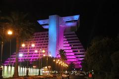 Sheraton Hotel architectural lighting (paynemaine) Tags: building hospitality doha qatar katara projections rebrandlaunch katarahospitality kenkaato