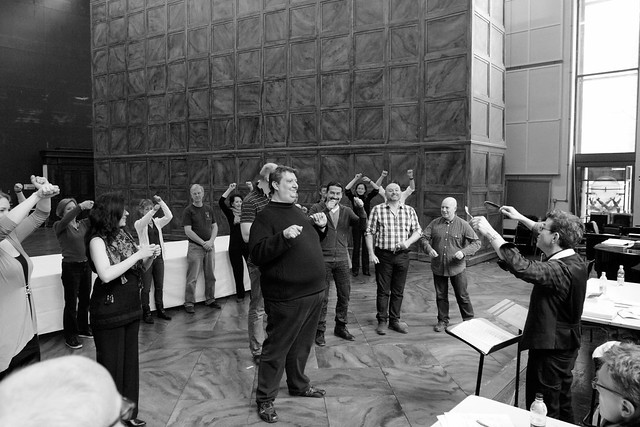 "The cast in rehearsals for Robert Carsen's Royal Opera production of Falstaff <a href=""http://www.roh.org.uk"" rel=""nofollow"">www.roh.org.uk</a> Photo by Catherine Ashmore"