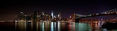 Brooklyn NYC skyline panorama 2 (KayOne73) Tags: new york city nyc urban skyline brooklyn night lens nikon zoom manhattan f promenade photomerge 28 mm nikkor afs photostitch 2470 automerge d700