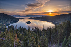 We sit in the mud... and reach for the stars... (ferpectshotz) Tags: california statepark trees lake color clouds sunrise reflections laketahoe pines alpinelake emeraldbay emeraldbaystatepark