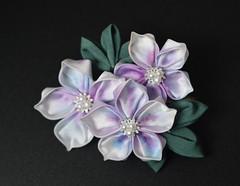 Purple Azalea Kanzashi. Handyed tsumami zaiku on clip. (Bright Wish Kanzashi) Tags: pink original purple handmade oneofakind gradation kanzashi handdyedsilk tsumamizaiku