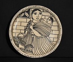 Mother and Child Pottery Plate Mexico (Teyacapan) Tags: ceramica mexico folkart crafts mexican plates michoacan barro tzintzuntzan oaxacan moralesgamez