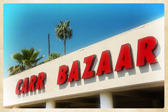 CARR BAZARR (WITH DECAPITATED PALM) (akahawkeyefan) Tags: building car palms closed business fresno sales davemeyer