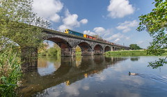 Over The Trent (Terry 47401) Tags: cloud reflection sunshine river duck nikon wideangle londonunderground mallard ee rivertrent englishelectric tubestock 20107 20314 d3200 class20 newtrain sstock 7x23 classictraction birminghamcurve