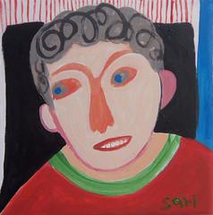 #1326 (sariart2) Tags: original boy abstract art painting acrylic raw outsider ooak selftaught sari primitive childlike azaria noy