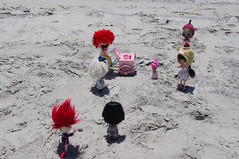 3. And like moths to a flame, they eagerly approached the tricycle of magic!  ....... (blythe stole my heart) Tags: bike pig zombie scooter blythe custom outerbanks emeraldisle misfits blyth adg bl beachvacation imreal blythephotos vegaicecream