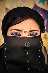 Blue Shadow, Red Heart, Black Veil (hazy jenius) Tags: blue shadow red woman eye girl hearts colorful veil muslim islam middleeast makeup east syria dayrazzawr