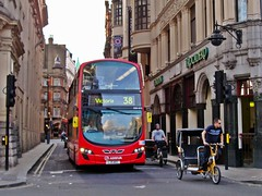 Man And Machine Revisited (leszee) Tags: city uk 2 man bus buses bike bicycle eclipse floor tricycle low ad machine victoria piccadillycircus ii cycle and push wright rickshaw dw gemini doubledecker cyclo 38 becak cityoflondon trishaw daf arriva pushbike revisited vdl greatwindmillstreet bikecab wrightbus pedaldriven wrighteclipsegemini wrightgemini londonpedicab db300 vdldb300 wrighteclipsegeminiii lowfloorcitybuses wrightgemini2dw manandmachinerevisited