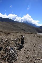 Taking a rest during the ride on a Multi sport treking Mountain biking rafting kayaking trip in Nepal