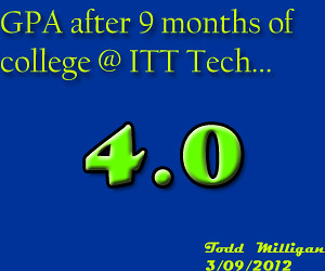 This is my GPA after 9 months at Itt Technical Institute in Web Design Technology as of March 09, 2012