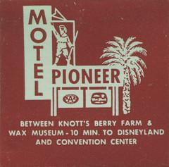Pioneer Motel (jericl cat) Tags: beach sign museum illustration vintage paper logo neon boulevard disneyland motel palm ephemera figure wax arrow roadside pioneer buenapark aaa knotts matchbook berryfarm