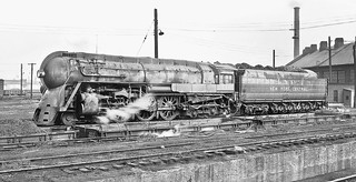 New York Central 4-6-4 Hudson, J3a class, Henry Dreyfuss streamlined steam locomotive # 5445, is seen at the locomotive service area in Elkhardt, Indiana, March 1945