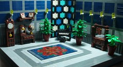 The Blue Room at Mayo Manor (eilonwy77) Tags: plant lamp radio table mirror globe lego mosaic pottedplant photograph manor blueroom persiancarpet grandpiano tiledfloor grandfatherclock oldfashionedradio cheeseslopemosaic 31112olympus rollingpianostool