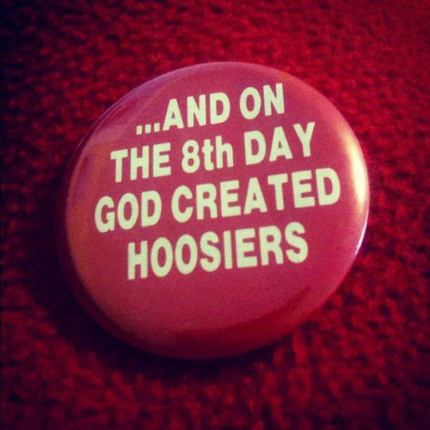 Im going to the Indiana vs New Mexico State NCAA game tonight, and Ill be wearing this button. March Madness!