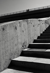 (ssj_george) Tags: bridge two people blackandwhite bw lines silhouette stairs contrast standing lens concrete lumix blackwhite raw shadows village dam steps silhouettes cyprus file diagonal panasonic pancake 20mm persons railing leading dmc harsh lightroom ascending f17 m43 gf1 mft  klirou   georgestavrinos  ssjgeorge  giorgosstavrinos