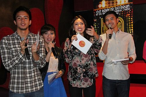 MYX VJs Mike Joyce, Bianca and Chino were the host of MMA 2012 announcement of nominees (photo by Allan Sancon)
