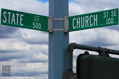 The Separation Of Church And State (Ian Sane) Tags: road street urban signs church clouds oregon ian downtown state images and salem separation sane the of