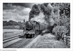hall........................... (4macfotography) Tags: wood bridge sky tree lamp field clouds rural train fence landscape hall track smoke rail steam locomotive express passenger 1001nights coaches exhaust carriages gcr woodthorpe 4953 pitchford