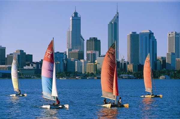 Surfcats and the Perth skyline