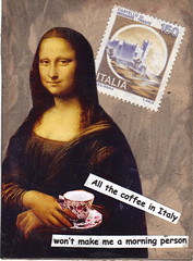 Atc swap: ART SUPPLY DEPOT - TOLEDO, OH (mamajoy804) Tags: woman coffee vintage quote monalisa postagestamp