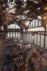 heaven. (stevenbley) Tags: abandoned philadelphia electric sunrise rust industrial pennsylvania decay fences urbanexploration barbedwire lowtide powerstation hightide asbestos urbex newfriends coalchute tornpants guerillahistorian