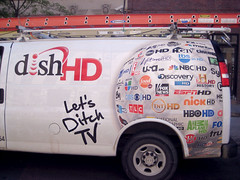 show park street nyc boy white streetart ny art television truck poster tv ditch dish cut satellite side ad vinyl commercial repair installation fox shows tele network parked hd ladder van tbs install hbo hdtv cbs razor posterboy boobtube