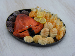 Crab, Shrimps and Scallops Platter (Shay Aaron) Tags: food fish dinner miniature handmade salmon crab prawns mini clam gourmet polymerclay fimo tiny deli seafood oysters appetizer mussel scallop crustacean 12th 112 luxury lux platter preparation dollhouse petit oneinchscale shayaaron scaleoneinch